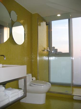 Até o chuveiro tem paredes de vidro...