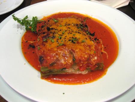 Uma lasanha vegetariana impecável...
