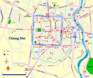 Chiang Mai, com o centro histórico destacado