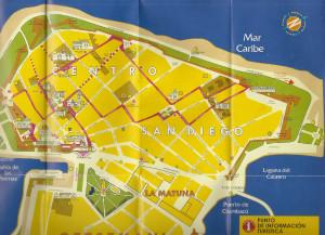 Mapa do centro histórico de Cartagena