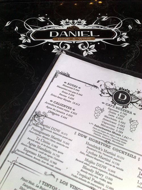 Menu do Daniel Dine & Wine