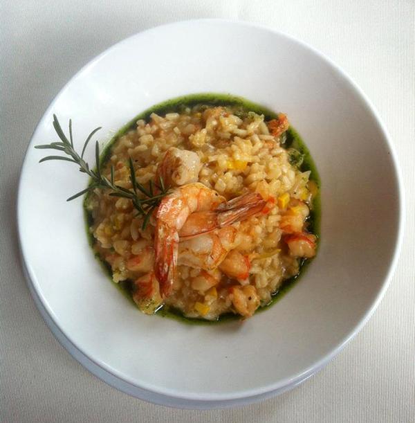O delicioso risotto com camarões...